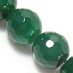 Natürliche grüne Achat Perlen, Grüner Achat, rund, facettierte, grün, 12mm, Bohrung:ca. 1.5mm, Länge:ca. 15 ZollInch, 5SträngeStrang/Menge, verkauft von Menge