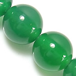 Natürliche grüne Achat Perlen, Grüner Achat, rund, grün, 8mm, Bohrung:ca. 1.5mm, Länge:ca. 15 ZollInch, 5SträngeStrang/Menge, verkauft von Menge
