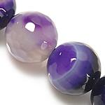 Natürliche violette Achat Perlen, Violetter Achat, rund, verschiedene Größen vorhanden & facettierte, Länge:ca. 14.5 ZollInch, verkauft von Menge