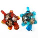 Goldsand Lampwork Anhänger, Schildkröter, gemischte Farben, 38x55x14mm, Bohrung:ca. 7mm, 12PCs/Box, verkauft von Box