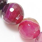 Natürliche Rosa Achat Perlen, rund, facettierte & Streifen, 12mm, Bohrung:ca. 1.2mm, Länge:ca. 15.5 ZollInch, 5SträngeStrang/Menge, verkauft von Menge