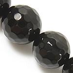 Natürliche schwarze Achat Perlen, Schwarzer Achat, rund, verschiedene Größen vorhanden & facettierte, schwarz, Grade A, Bohrung:ca. 0.8-1mm, verkauft per ca. 15 ZollInch Strang