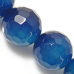 Natürliche blaue Achat Perlen, Blauer Achat, rund, verschiedene Größen vorhanden & facettierte, Länge:ca. 15 ZollInch, verkauft von Menge