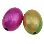 ABS-Kunststoff-Perlen, ABS Kunststoff, oval, gemischte Farben, 13x19mm, Bohrung:ca. 2mm, 258PCs/Tasche, verkauft von Tasche