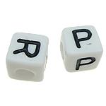 ABS-Kunststoff Alphabet Perlen, ABS Kunststoff, Würfel, gemischtes Muster, weiß, 8x8mm, Bohrung:ca. 4mm, 1100PCs/Tasche, verkauft von Tasche