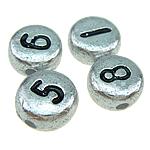 ABS-Kunststoff-Perlen, ABS Kunststoff, gemischt, Silberfarbe, 7x4mm, Bohrung:ca. 1mm, 3500PCs/Tasche, verkauft von Tasche