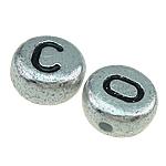 ABS-Kunststoff Alphabet Perlen, ABS Kunststoff, gemischt, Silberfarbe, 7x3.50mm, Bohrung:ca. 1mm, 3600PCs/Tasche, verkauft von Tasche