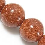 Goldstein Perlen, Goldsand, rund, natürlich, 14mm, Bohrung:ca. 1.2-1.4mm, Länge:ca. 15.5 ZollInch, 5SträngeStrang/Menge, ca. 27PCs/Strang, verkauft von Menge