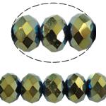 Rondell Kristallperlen, Kristall, AA grade crystal, metallische Farbe plattiert, 6x8mm, Bohrung:ca. 1.5mm, Länge:16 ZollInch, 10SträngeStrang/Tasche, verkauft von Tasche