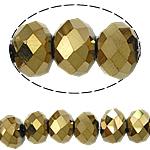 Rondell Kristallperlen, Kristall, goldfarben plattiert, AA grade crystal, 6x8mm, Bohrung:ca. 1.5mm, Länge:ca. 16 ZollInch, 10SträngeStrang/Tasche, ca. 72PCs/Strang, verkauft von Tasche