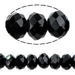Rondell Kristallperlen, Kristall, AA grade crystal, Jet schwarz, 8x10mm, Bohrung:ca. 1.5mm, Länge:ca. 22 ZollInch, 10SträngeStrang/Tasche, ca. 72PCs/Strang, verkauft von Tasche