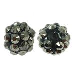 Harz Strass Perlen, rund, mit Strass, 10x12mm, Bohrung:ca. 1.5mm, 100PCs/Tasche, verkauft von Tasche