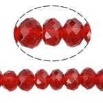 Rondell Kristallperlen, Kristall, AA grade crystal, Siam, 3x4mm, Bohrung:ca. 1mm, Länge:ca. 19 ZollInch, 10SträngeStrang/Tasche, verkauft von Tasche