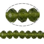 Rondell Kristallperlen, Kristall, AA grade crystal, Olivin, 4x6mm, Bohrung:ca. 1mm, Länge:16 ZollInch, 10SträngeStrang/Tasche, verkauft von Tasche