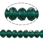 Rondell Kristallperlen, Kristall, AA grade crystal, smaragdgrün, 4x6mm, Bohrung:ca. 1mm, Länge:ca. 18 ZollInch, 10PCs/Tasche, verkauft von Tasche