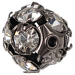 Strass Messing Perlen, rund, Gestell, mit Strass, metallschwarze Farbe, frei von Nickel, Blei & Kadmium, 11x11mm, Bohrung:ca. 1.5mm, 50PCs/Tasche, verkauft von Tasche