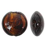 Silberfolie Lampwork Perlen, flache Runde, braun, 12x8mm, Bohrung:ca. 1.5mm, 100PCs/Tasche, verkauft von Tasche