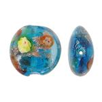 Silberfolie Lampwork Perlen, flache Runde, Goldsand und Silberfolie, blau, 20x10mm, Bohrung:ca. 2mm, 100PCs/Tasche, verkauft von Tasche