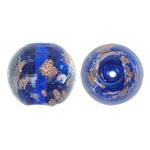 Goldsand Lampwork Perlen, rund, 15mm, Bohrung:ca. 1.5mm, 100PCs/Tasche, verkauft von Tasche
