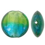 Silberfolie Lampwork Perlen, flache Runde, zweifarbig, 20x10mm, Bohrung:ca. 2mm, 100PCs/Tasche, verkauft von Tasche