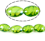 Innerer Twist Lampwork Perlen, oval, grün, 18x25x10mm, Bohrung:ca. 2mm, 100PCs/Tasche, verkauft von Tasche