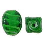 Innerer Twist Lampwork Perlen, oval, grün, 12x17mm, Bohrung:ca. 2mm, 100PCs/Tasche, verkauft von Tasche