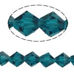 Doppelkegel Kristallperlen, Kristall, facettierte, smaragdgrün, 8x8mm, Bohrung:ca. 0.8-1.2mm, Länge:12 ZollInch, 10SträngeStrang/Tasche, verkauft von Tasche