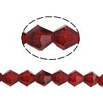 Doppelkegel Kristallperlen, Kristall, facettierte, Rubin, 8x8mm, Bohrung:ca. 1mm, Länge:10.5 ZollInch, 10SträngeStrang/Tasche, verkauft von Tasche