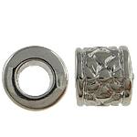 Verkupfertes Kunststoff-Perlen, Verkupferter Kunststoff, Trommel, Platinfarbe platiniert, großes Loch, frei von Nickel, Blei & Kadmium, 7x8mm, Bohrung:ca. 4mm, 5Taschen/Menge, verkauft von Menge