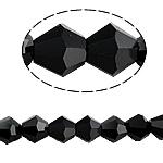 Doppelkegel Kristallperlen, Kristall, facettierte, Jet schwarz, 5x5mm, Bohrung:ca. 0.5mm, Länge:ca. 11.5 ZollInch, 10SträngeStrang/Tasche, ca. 60PCs/Strang, verkauft von Tasche