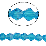 Doppelkegel Kristallperlen, Kristall, facettierte, Aquamarin, 5x5mm, Bohrung:ca. 0.5mm, Länge:11.5 ZollInch, 10SträngeStrang/Tasche, verkauft von Tasche