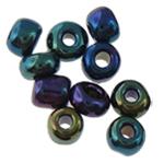 Regenbogen Glas-Rocailles, rund, 1.90x2.20mm, Bohrung:ca. 0.3mm, ca. 22500PCs/Tasche, verkauft von Tasche