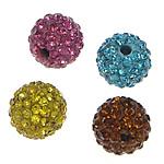 Halb gebohrte Strass Perlen, Lehm pflastern, rund, mit 46 Stück Strass & mit Strass von Nahost & halbgebohrt, gemischte Farben, 8mm, Bohrung:ca. 1.5mm, 20PCs/Tasche, verkauft von Tasche