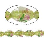 Goldsand Lampwork Perlen, oval, 11x16mm, Bohrung:ca. 2mm, 100PCs/Tasche, verkauft von Tasche