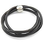 Rindsleder Armband, Kuhhaut, Edelstahl Magnetverschluss, 3-Strang, schwarz, 4mm, 13mm, verkauft per 23 ZollInch Strang