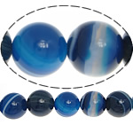Natürliche blaue Achat Perlen, Blauer Achat, rund, verschiedene Größen vorhanden & Streifen, verkauft per ca. 15.5 ZollInch Strang