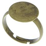 Messing einstellbare Fingerringe, antike Bronzefarbe plattiert, frei von Blei & Kadmium, 12x12mm, Größe:7, 400PCs/Tasche, verkauft von Tasche