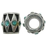 Zink Legierung Europa Perlen, Zinklegierung, Trommel, ohne troll & mit Strass, frei von Nickel, Blei & Kadmium, 9x9mm, Bohrung:ca. 5mm, 10PCs/Tasche, verkauft von Tasche