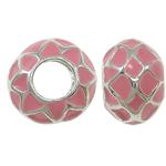 Zink Legierung Europa Perlen, Zinklegierung, mit Emaille, Rondell, ohne troll, Rosa, frei von Nickel, Blei & Kadmium, 11x8mm, Bohrung:ca. 5mm, verkauft von PC