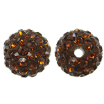 Harz Perlen Strass, rund, mit Strass, Rauchtopas, 10x10mm, Bohrung:ca. 2mm, 10PCs/Tasche, verkauft von Tasche