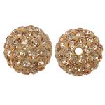 Harz Perlen Strass, rund, mit Strass, Silber Champagner, 10x10mm, Bohrung:ca. 1mm, 10PCs/Tasche, verkauft von Tasche