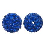 Harz Perlen Strass, rund, mit Strass, Kobaltblau, 12x12mm, Bohrung:ca. 1.5mm, 10PCs/Tasche, verkauft von Tasche