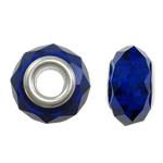 European Kristall Perlen, Rondell, silberfarben plattiert, Messing-Dual-Core ohne troll, tiefblau, 14x9mm, Bohrung:ca. 5mm, 20PCs/Tasche, verkauft von Tasche