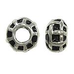 Zink Legierung Europa Perlen, Zinklegierung, Rondell, ohne troll & Emaille, schwarz, frei von Nickel, Blei & Kadmium, 10x7mm, Bohrung:ca. 4.5mm, 10PCs/Tasche, verkauft von Tasche