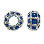 Zink Legierung Europa Perlen, Zinklegierung, Rondell, ohne troll & Emaille, tiefblau, frei von Nickel, Blei & Kadmium, 10x7mm, Bohrung:ca. 5mm, 10PCs/Tasche, verkauft von Tasche
