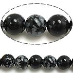 Schneeflocke Obsidian, rund, natürlich, verschiedene Größen vorhanden, Bohrung:ca. 1mm, Länge:ca. 15 ZollInch, verkauft von Menge