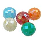 Plattierte Acrylperlen, Acryl, rund, AB Farben platiniert, Volltonfarbe, gemischte Farben, 6mm, Bohrung:ca. 1.5mm, 4800PCs/Tasche, verkauft von Tasche