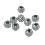 Traumhafte Acrylperlen, Acryl, rund, stumpfnattes Silber, 4mm, Bohrung:ca. 1mm, 14000PCs/Tasche, verkauft von Tasche