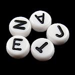 Alphabet Acryl Perlen, gemischt, weiß, 4x7mm, Bohrung:ca. 0.5mm, 3600-3700PCs/Tasche, verkauft von Tasche