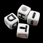 Alphabet Acryl Perlen, gemischt, weiß, 7x7mm, Bohrung:ca. 4mm, 1950PCs/Tasche, verkauft von Tasche